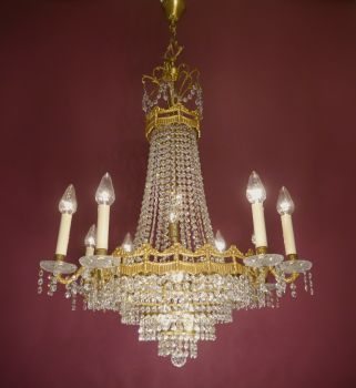 large fine crystal gold bronze chandelier - shipping not possible