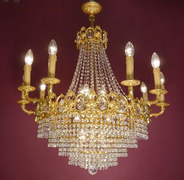 19 fl. strass crystal gold bronze step chandelier (pick up only)