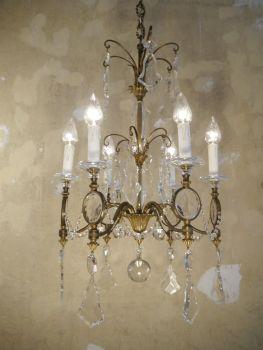 WOW wunderschöne sehr spezielle Art Deco Lampe antik Kronleuchter Messing  Kristall(nur Abholung)