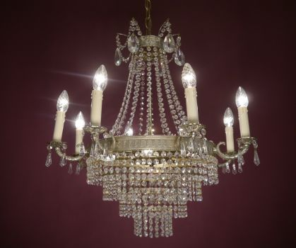 12 fl. Stepped chandelier silver nickel crystal (pick up only)