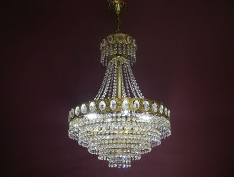 stepped chandelier brass