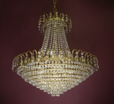 large shiny strass stepped chandelier