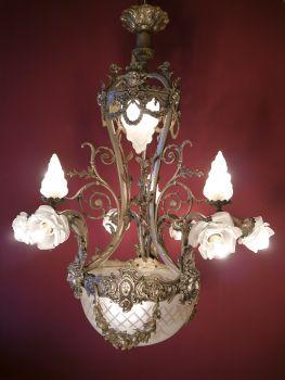sac a perle kronleuchter antik wundersch ne gro e jugendstil lampe antik verkauft nach. Black Bedroom Furniture Sets. Home Design Ideas