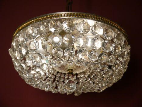 Plafoniere Kristall : Sac a perle 3 fl. seltene plafoniere messing alt viele kaskaden