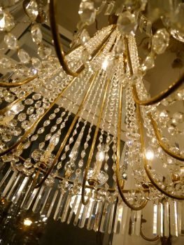 Lüster sac a perle seltener großer messing lüster mit bleikristall