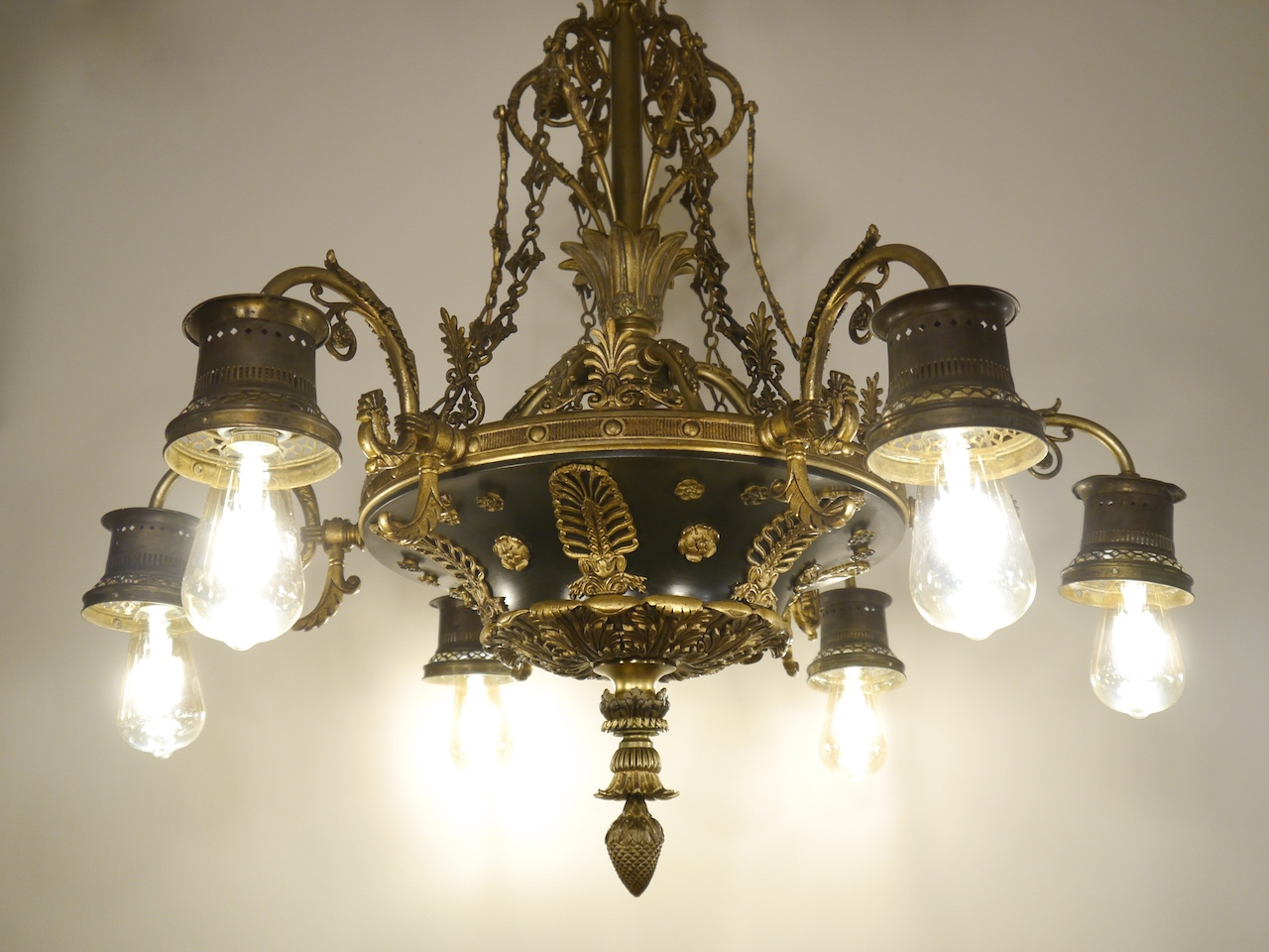 Kronleuchter Lampe ~ Sac a perle sehr seltener hoher antiker empire kronleuchter lampe