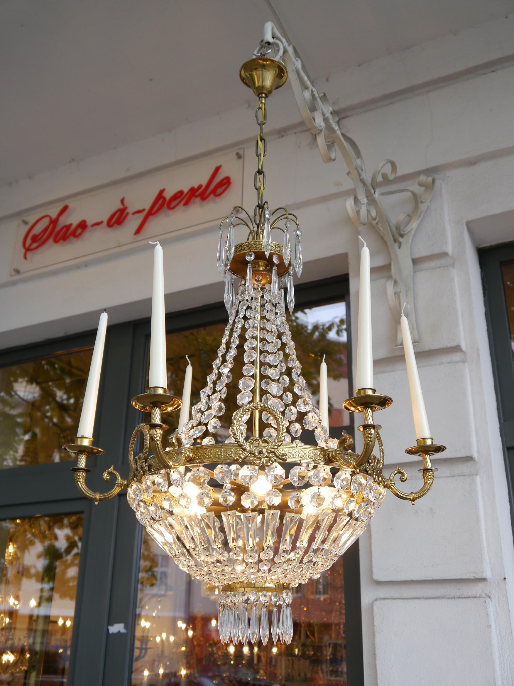 Sac-a-perle - schöner Kerzen Korblüster Kronleuchter alt, antike ...
