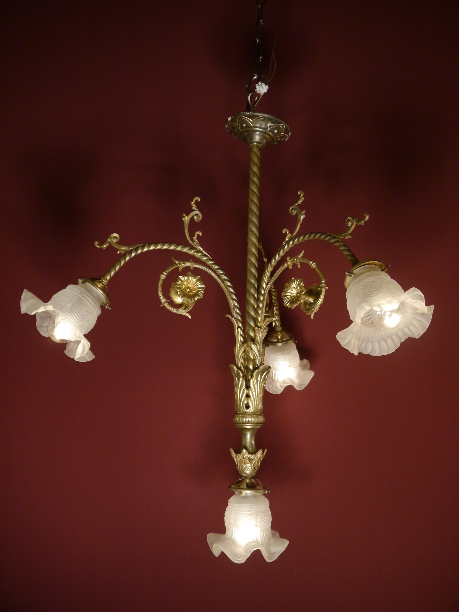 Sac a perle   zarte Jugendstil Lampe Messing